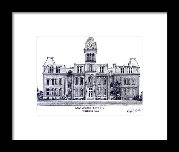West Virginia University Pen And Ink Drawing Framed Print featuring the drawing West Virginia by Frederic Kohli