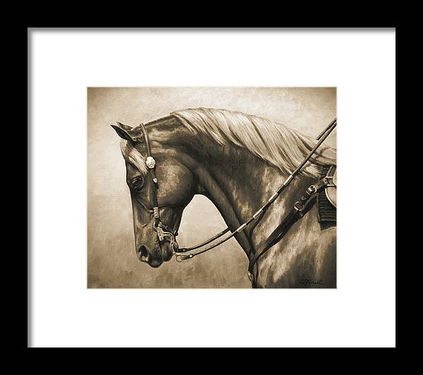 Horse Framed Print featuring the painting Western Horse Painting In Sepia by Crista Forest