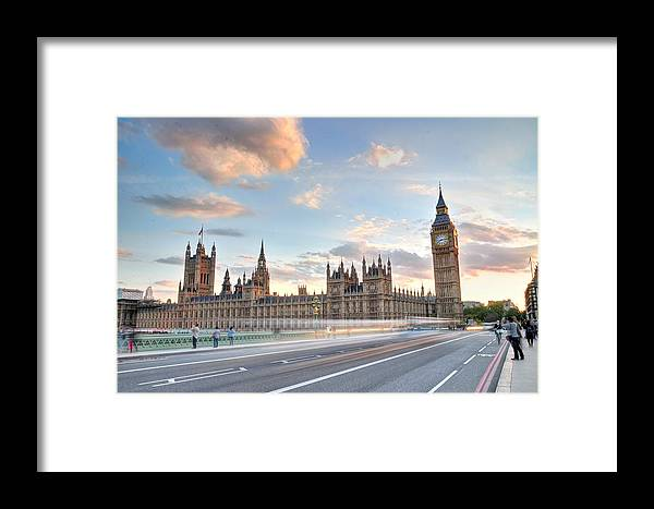 Photograph Taken From The Westminster Bridge Of The River Thames In London Framed Print featuring the photograph Westminster Bridge by Tony Brooks