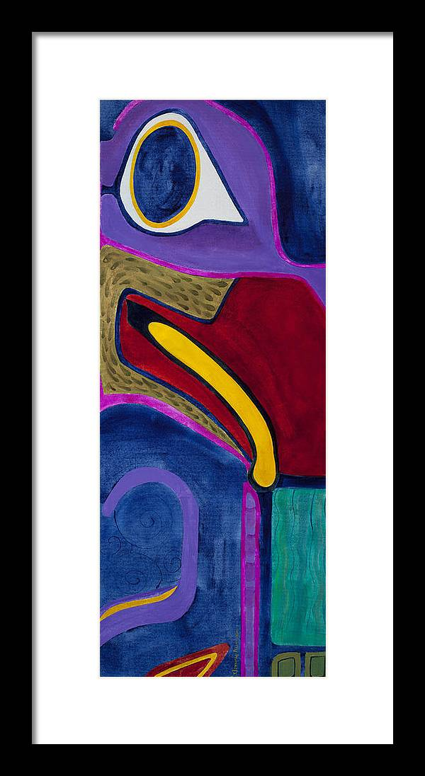 Totem Whale Color Acrylic Alaska Native Art Framed Print featuring the painting Whale by Dawn Aumann