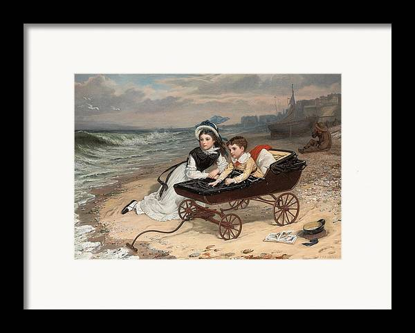 What Are The Wild Waves Saying; Character; Characters; Florence Dombey; Paul Dombey; Male; Female; Child; Children; Childhood; Victorian; Dickensian; Seaside; Beach; Young; Perambulator; Sentimental; Pram; Windy; Rough; Coast; Coastal; Sound; Noise; Surf; Crashing; Listening; Seated; Tide; Sea Foam; Carriage; Stroller Framed Print featuring the painting What Are The Wild Waves Saying? by Charles Wynne Nicholls