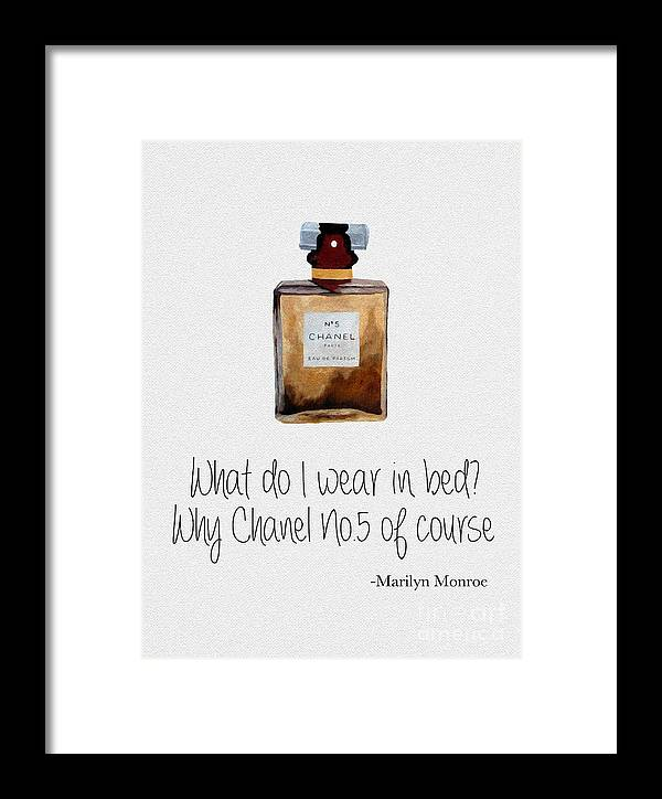 Chanel Framed Print featuring the mixed media What Do I Wear In Bed? by My Inspiration