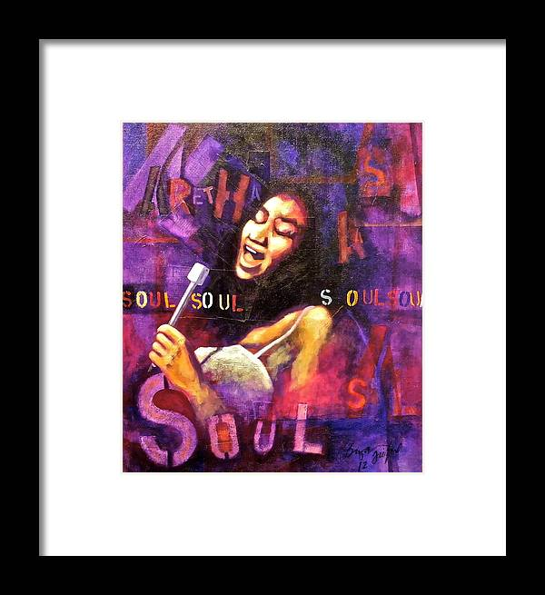 Soul Framed Print featuring the mixed media What Is Soul Aretha by Bryan Tilford