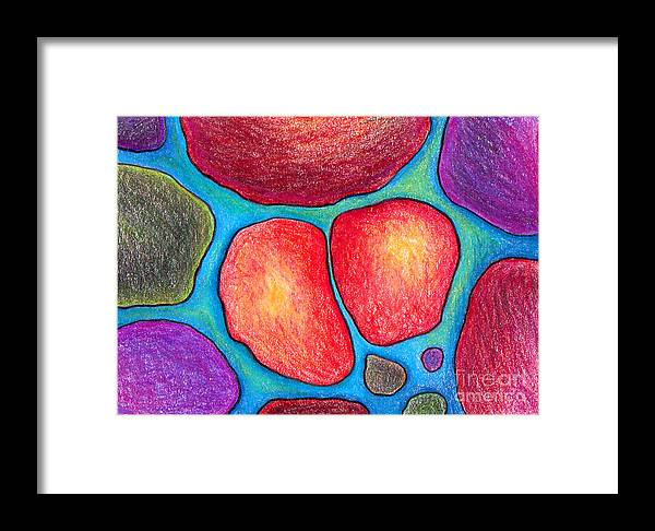 Trading Card Framed Print featuring the drawing When Soul Mates Collide by Nancy Mueller