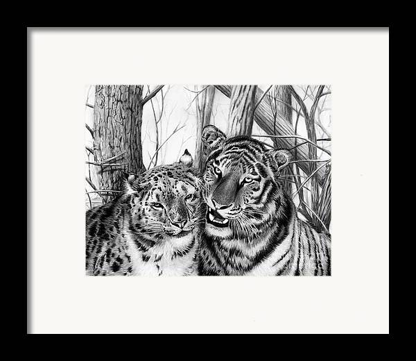 When Two Hearts Collide Framed Print featuring the drawing When Two Hearts Collide by Peter Piatt