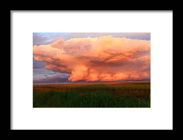 Skyscape Framed Print featuring the photograph Where Sky meets Land by Toni Hopper