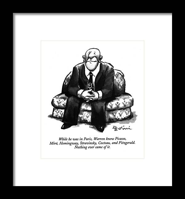 (a Rather Unhappy-looking Man Sits On A Sofa With His Hands Folded) Psychology Framed Print featuring the drawing While He Was In Paris by Eldon Dedini