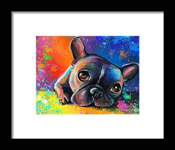 French Bulldog Prints Framed Print featuring the painting Whimsical Colorful French Bulldog by Svetlana Novikova
