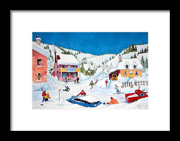 Whimsical Framed Print featuring the painting Whimsical Winter Village by Ian Nicholl