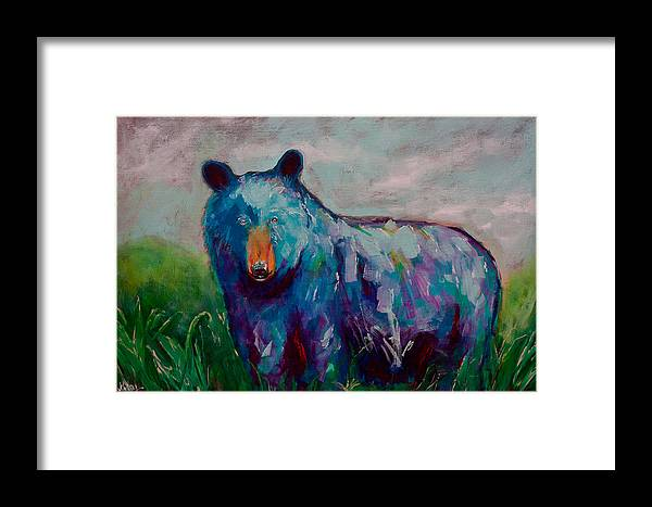 Whimsy Bear Painting Black Bear Brown Bear Wall Art Framed Print by ...