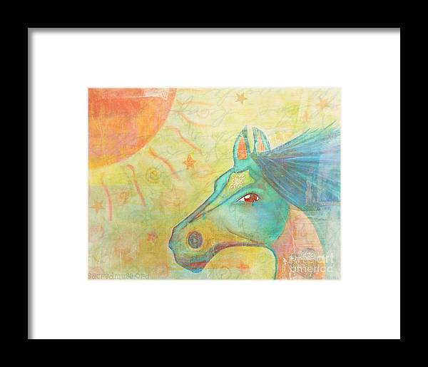 Horse Framed Print featuring the painting Whimsy Colorful Horse by Sacred Muse