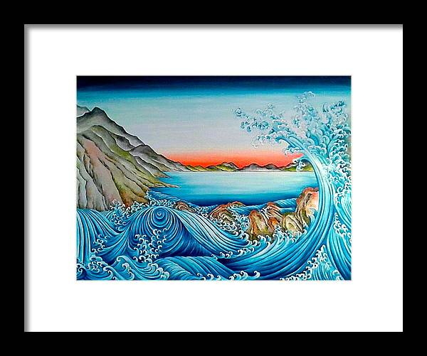 Water Framed Print featuring the painting Whirlpool And Rocks by Nicola Mountney