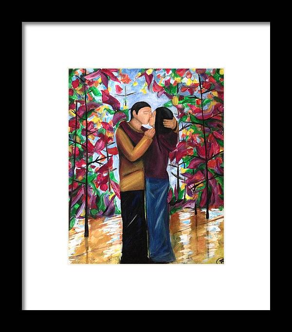 Contemporary Art Framed Print featuring the painting Whispering Kiss by D August