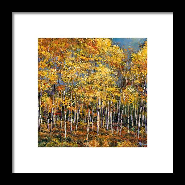 Autumn Aspen Framed Print featuring the painting Whispers and Secrets by Johnathan Harris