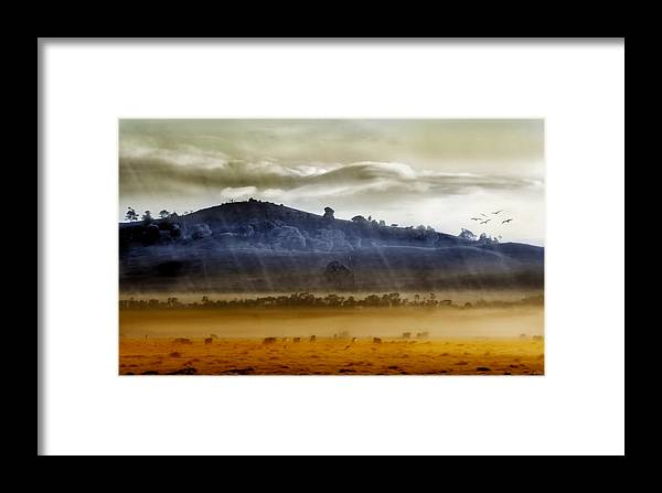Landscapes Framed Print featuring the photograph Whisps Of Velvet Rains... by Holly Kempe