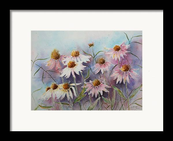 Floral Framed Print featuring the painting White And Pink Coneflowers by Patsy Sharpe