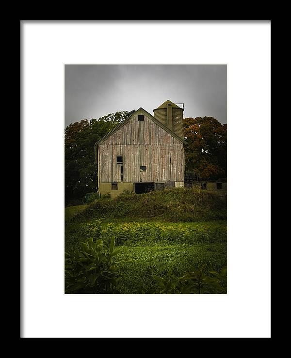 Rustic Framed Print featuring the photograph White Barn - Rainy Day by Kathleen Scanlan