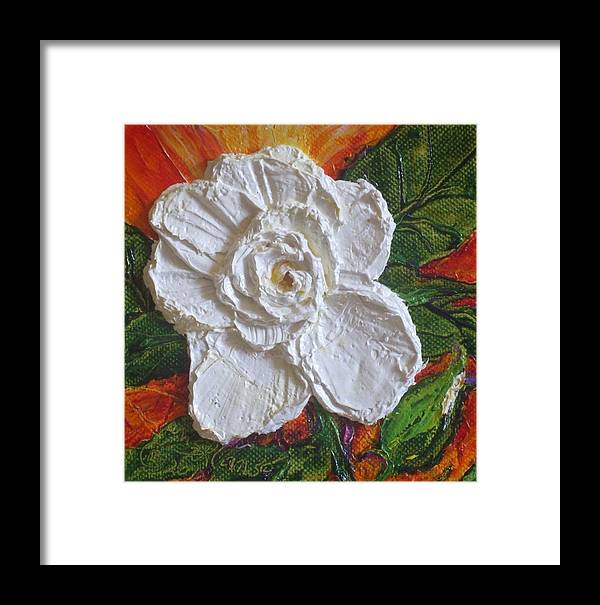White Begonia Painting Framed Print featuring the painting White Begonia by Paris Wyatt Llanso