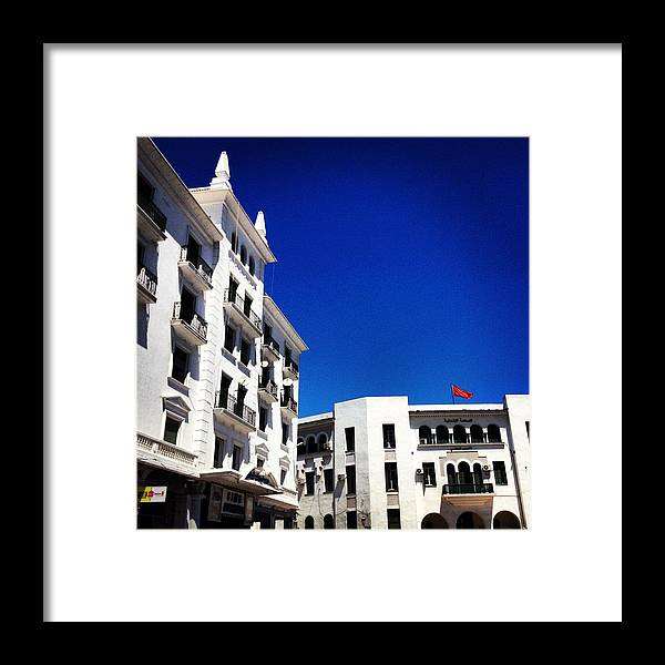 White Framed Print featuring the photograph White Buildings On Blue Sky IIi by Hannah Rose