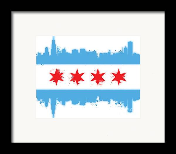 Chicago Framed Print featuring the digital art White Chicago Flag by Mike Maher