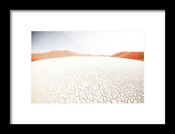 Tranquility Framed Print featuring the photograph White Clay Pan And Dunes by Taken By Chrbhm