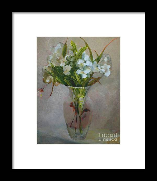 Wedding Card Framed Print featuring the painting White Flowers    Copyrighted by Kathleen Hoekstra