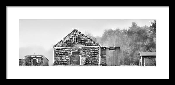 Architecture Framed Print featuring the photograph White Foggy Farm by Richard Bean