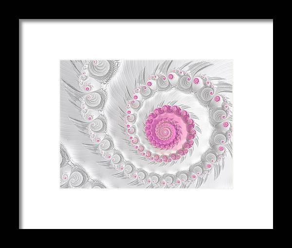 White Framed Print featuring the digital art White Grey And Pink Fractal Spiral Art by Matthias Hauser