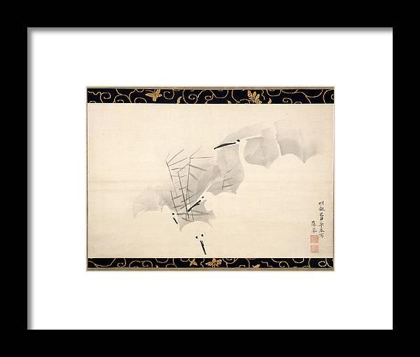 Maruyama Okyo Framed Print featuring the painting White Herons by Maruyama Okyo