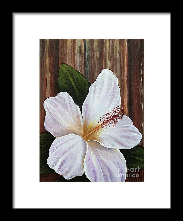 Hawaii Framed Print featuring the painting White Hibiscus by Gayle Utter