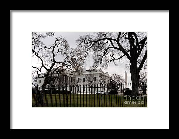 White House Framed Print featuring the photograph White House On A Cloudy Winter Day by Gary Whitton