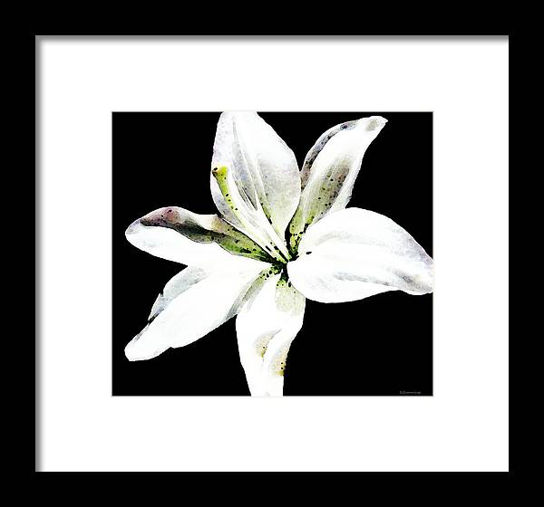 Flower Framed Print featuring the painting White Lily By Sharon Cummings by William Patrick