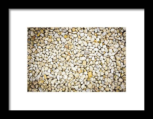 Abstract Framed Print featuring the photograph White Pebbles by Tim Hester