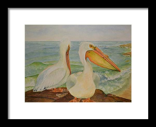 Pelicans Framed Print featuring the painting White Pelicans by Hannah Boynton