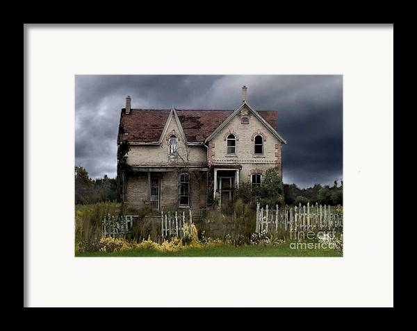 Haunted House Framed Print featuring the photograph White Picket Fence by Tom Straub
