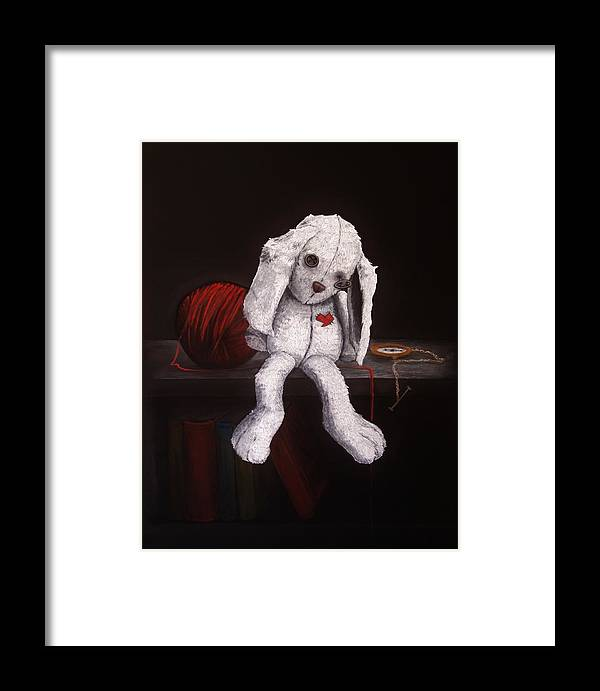 White Rabbit Framed Print featuring the drawing White Rabbit by Suzanne Roach
