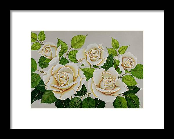 Rose Framed Print featuring the painting White Roses by Carol Sabo