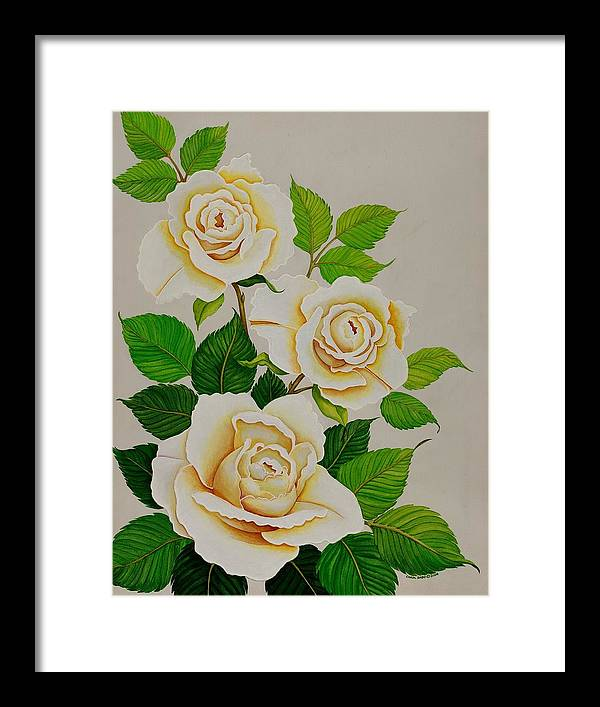 White Roses With Yellow Shading On A White Background. Framed Print featuring the painting White Roses - Vertical by Carol Sabo