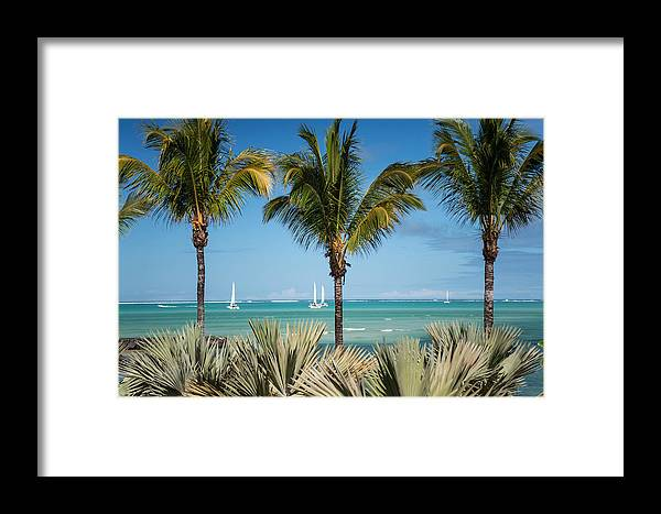 Ocean Framed Print featuring the photograph White Sails. Mauritius by Jenny Rainbow