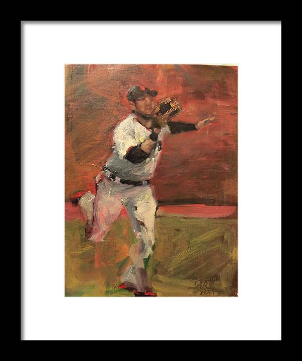 Gregor Blanco Framed Print featuring the painting White Shark Snatch by Darren Kerr