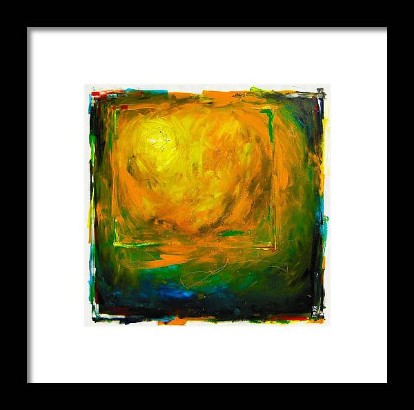 Michael Leporati Framed Print featuring the painting White Sphere Orange Circles by Michael Leporati