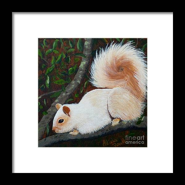 Squirrel Framed Print featuring the painting White Squirrel Of Sooke by Alicia Fowler