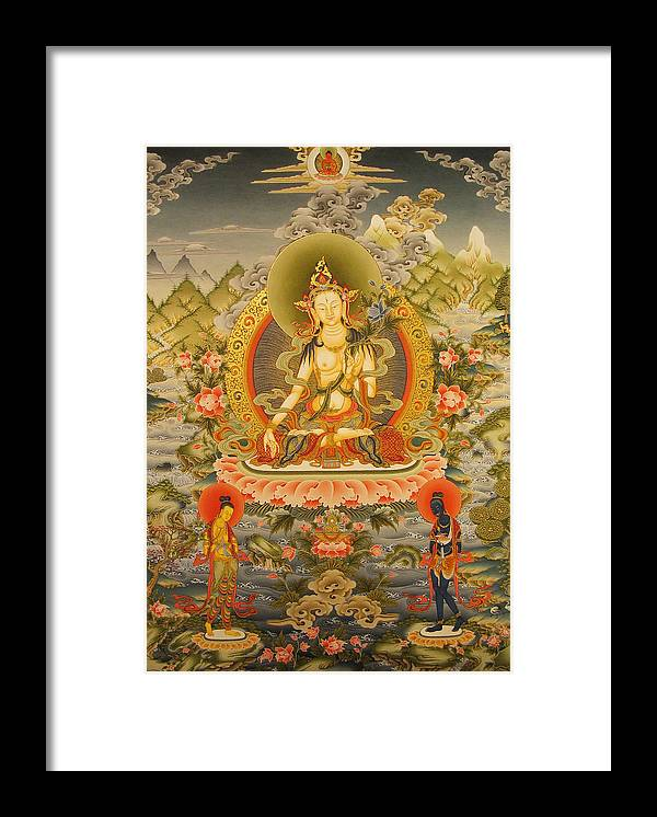 Thangka Framed Print featuring the painting White Tara by Art School