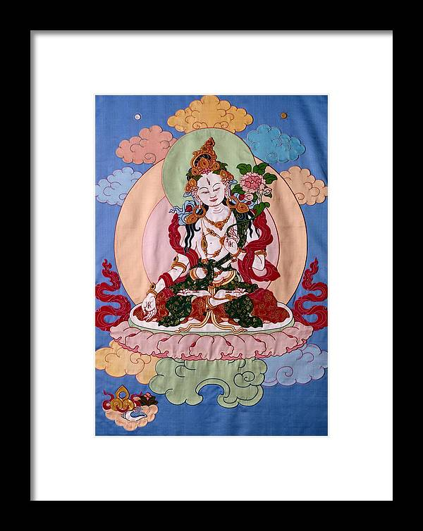 Longevity Framed Print featuring the tapestry - textile White Tara by Leslie Rinchen-Wongmo