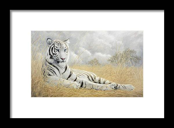Tiger Framed Print featuring the painting White Tiger by Lucie Bilodeau