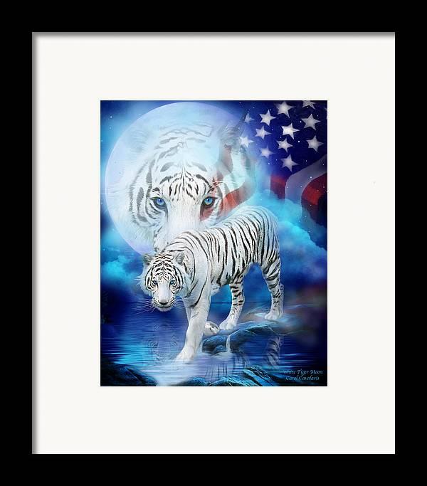 Carol Cavalaris Framed Print featuring the mixed media White Tiger Moon - Patriotic by Carol Cavalaris