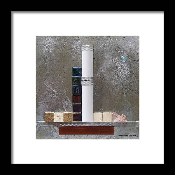 Assemblage Framed Print featuring the relief White Tower by Elaine Booth-Kallweit