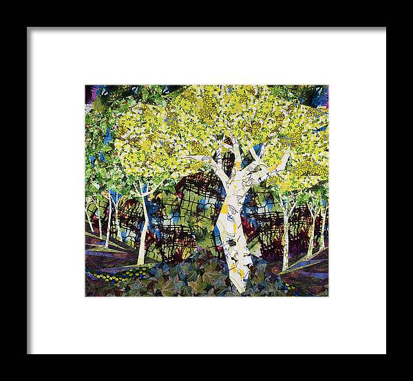 Landscape Framed Print featuring the tapestry - textile White Trees by Linda Beach