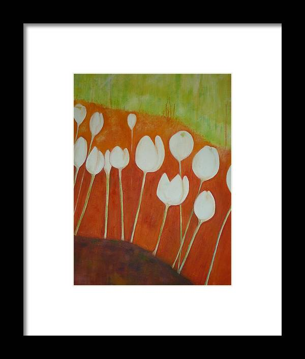 Oil Framed Print featuring the painting White Tulips On Orange by Cate Evans