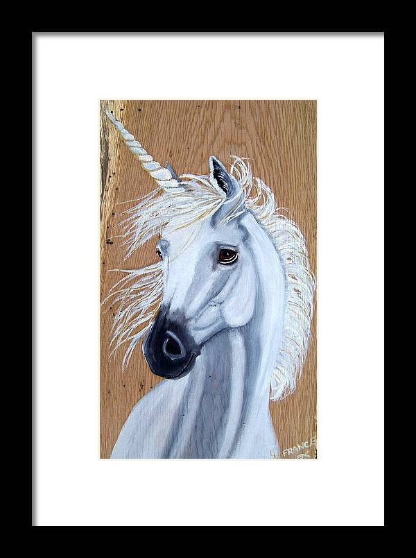 Unicorn Framed Print featuring the painting White Unicorn On Wood by Debbie LaFrance